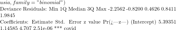 """usia, family = """"binomial"""")  Deviance Residuals:      Min       1Q   Median       3Q      Max   -2.2562  -0.8200   0.4626   0.8411   1.9845    Coefficients:             Estimate Std. Error z value Pr(> z )     (Intercept)  5.39351    1.14585   4.707 2.51e-06 *** covid"""